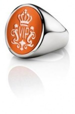 Siegelring signet rings Oval Silber orange weiss
