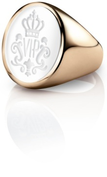 Siegelring signet rings Oval Roségold weiss VIP